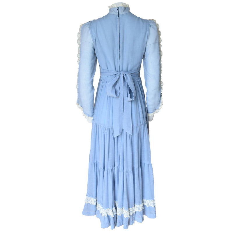 1970s Cornflower Blue Gunne Sax Prairie Dress - Sweet Disorder Vintage