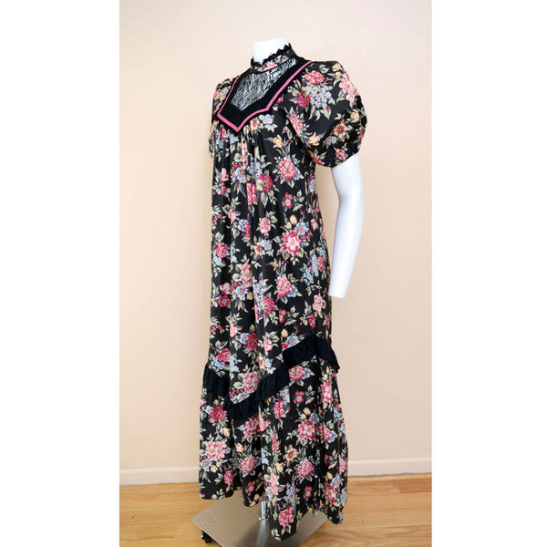1980s Victorian Style Maxi Dress - Sweet Disorder Vintage