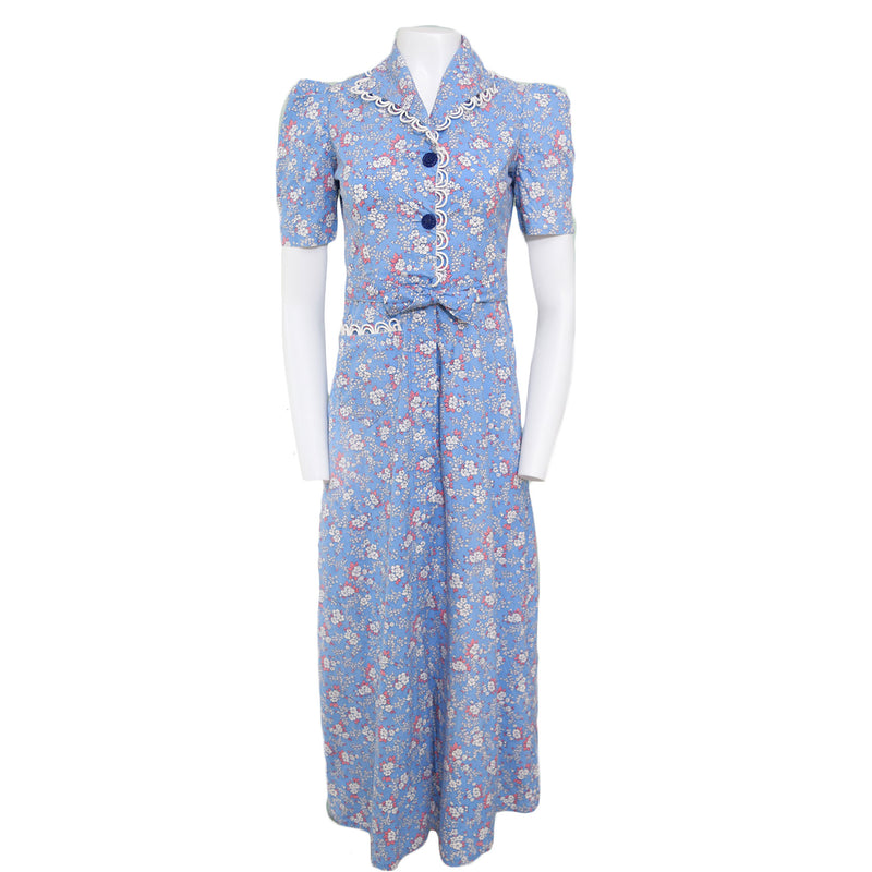 1940s Cornflower Blue Hostess Gown - Sweet Disorder Vintage