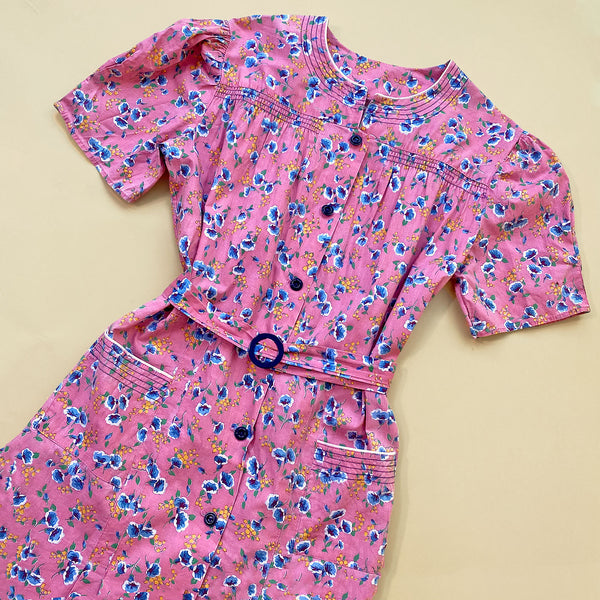 1930s Morning Glory Print Day Dress