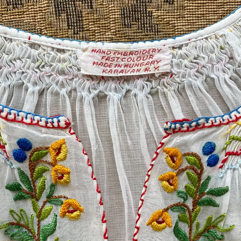 1930s Hand-Embroidered Hungarian Blouse