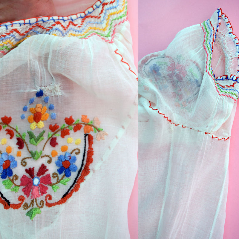 1930s Embroidered Peasant Blouse