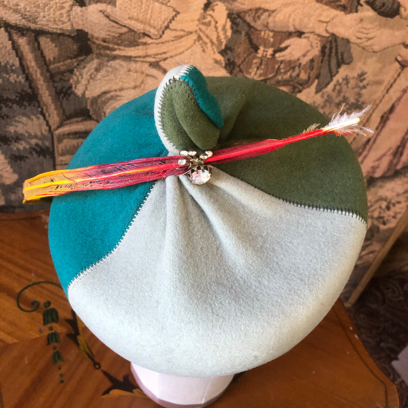 1960s Color Block Hat - Sweet Disorder Vintage