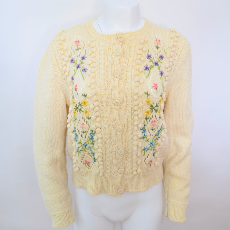 1960s Hand Knitted Flower Cardigan