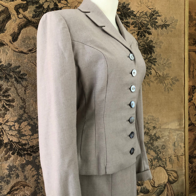 1940s Suit with Mother of Pearl Buttons - Sweet Disorder Vintage