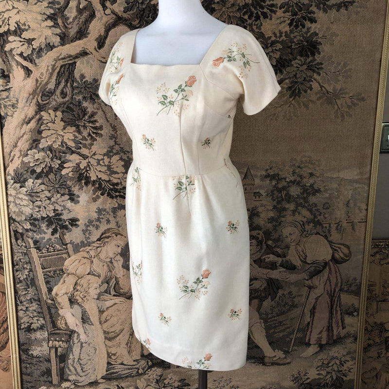 1960s Embroidered Wiggle Dress - Sweet Disorder Vintage