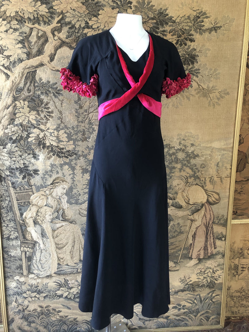1930s Silk Dress With Velvet Flowers - Sweet Disorder Vintage