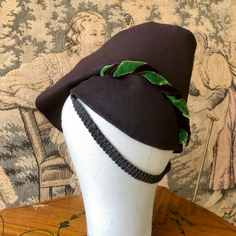 1930s Brown & Green Toy Hat - Sweet Disorder Vintage