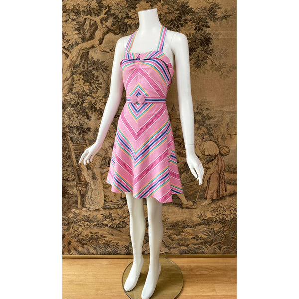 1970s Chevron Stripe Halter Dress - Sweet Disorder Vintage
