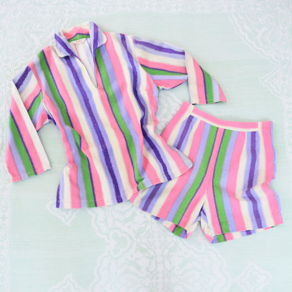 1950s Ombre Stripe Shirt & Shorts Set - Sweet Disorder Vintage