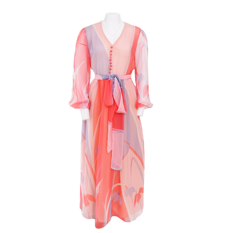 1970s Balloon Sleeve Chiffon Maxi Dress