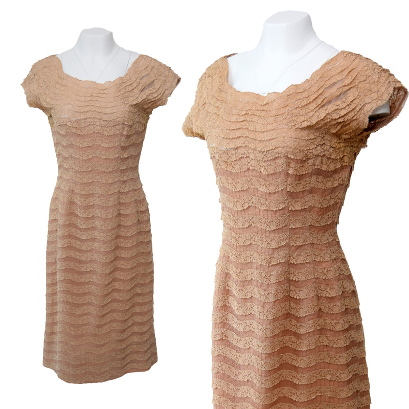 1950s Blush Lace Wiggle Dress - Sweet Disorder Vintage