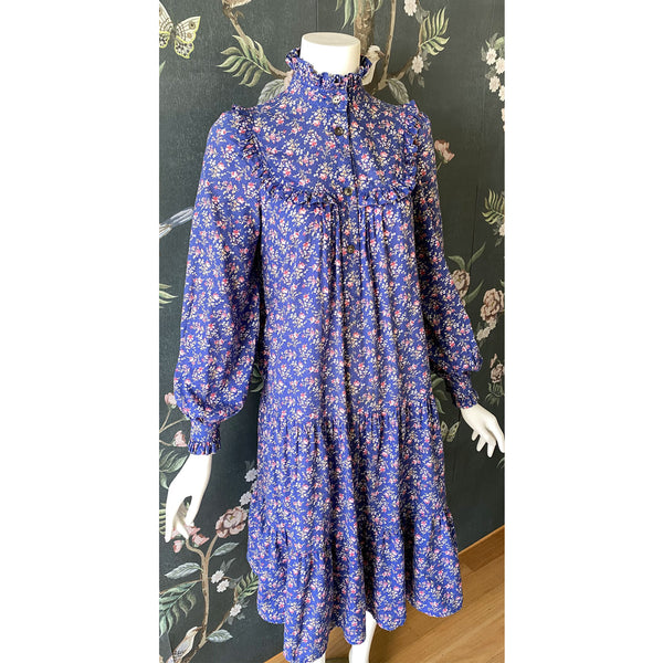 1980s Laura Ashley Floral Tiered Midi Dress