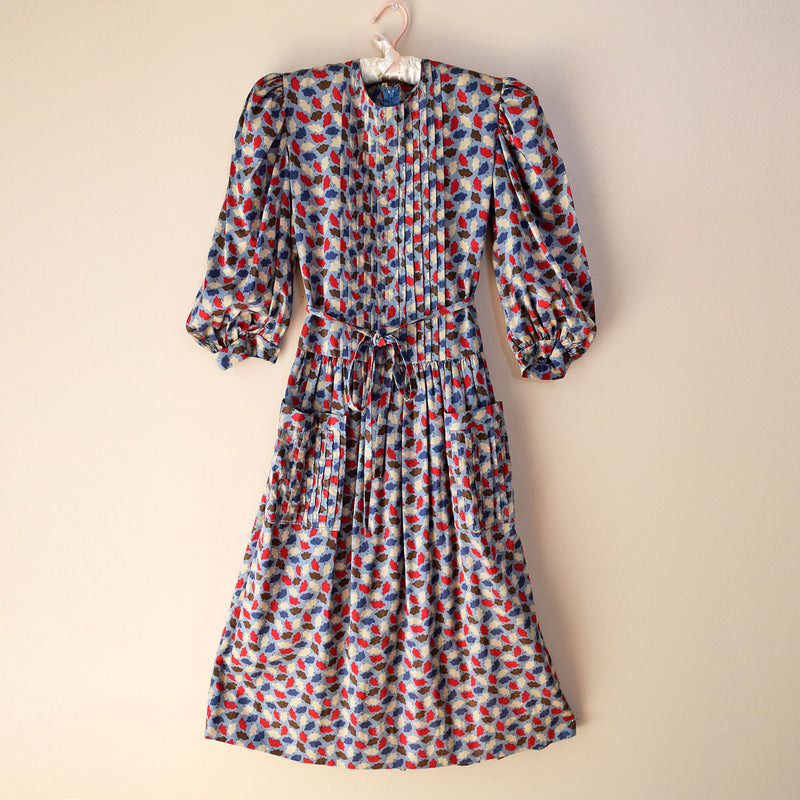 Vintage 1970s Leaf Print Midi Dress - Sweet Disorder Vintage