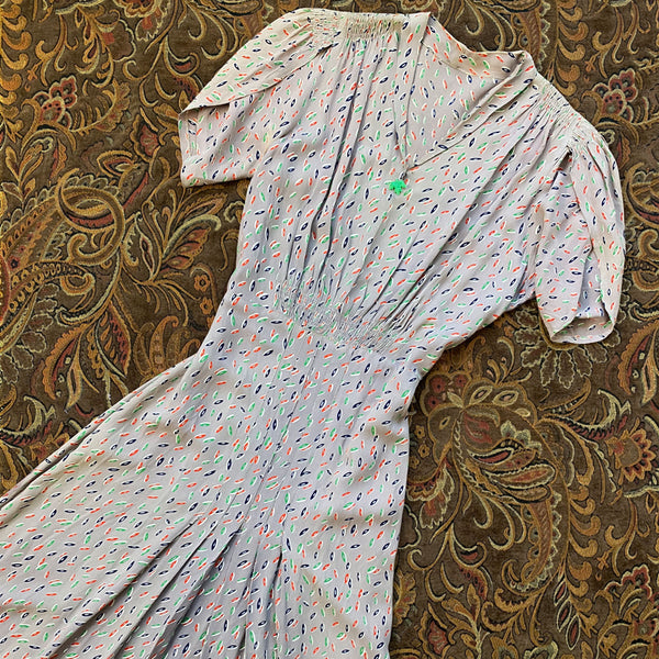 1930s Deco Print Day Dress