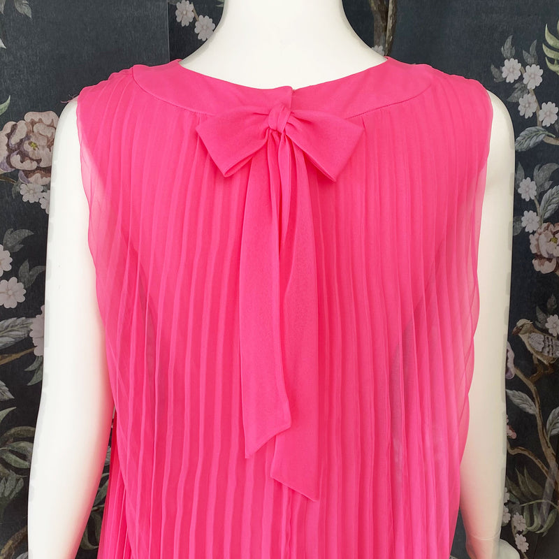 1960s Feather Trimmed Pink Pleated Mini Dress