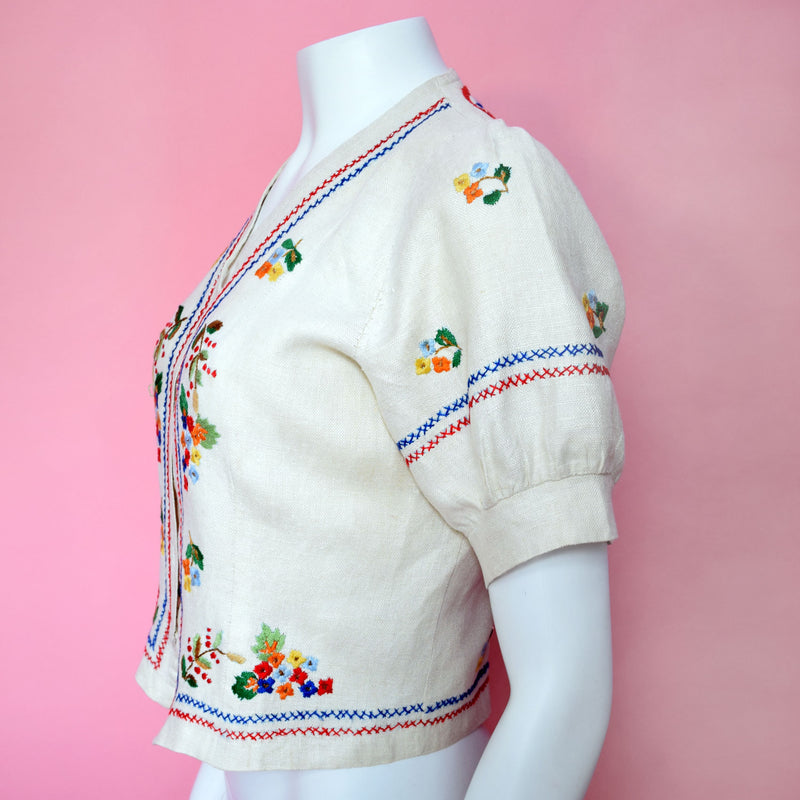 1930s Embroidered Linen Blouse