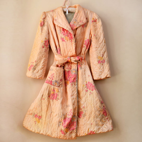 1940s Floral Satin Quilted Coat
