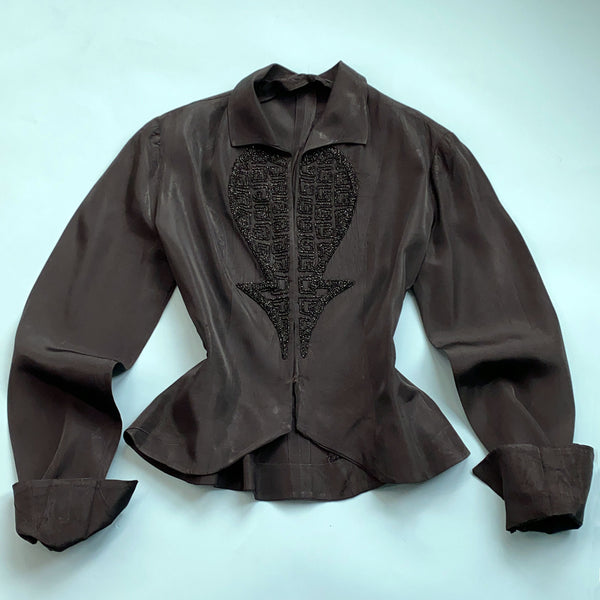 1940s Beaded Taffeta Jacket