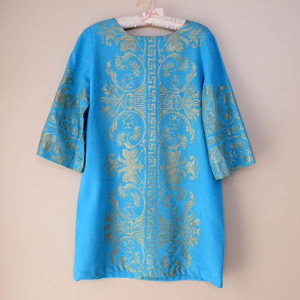 1970s Gold & Turquoise Mini Dress - Sweet Disorder Vintage