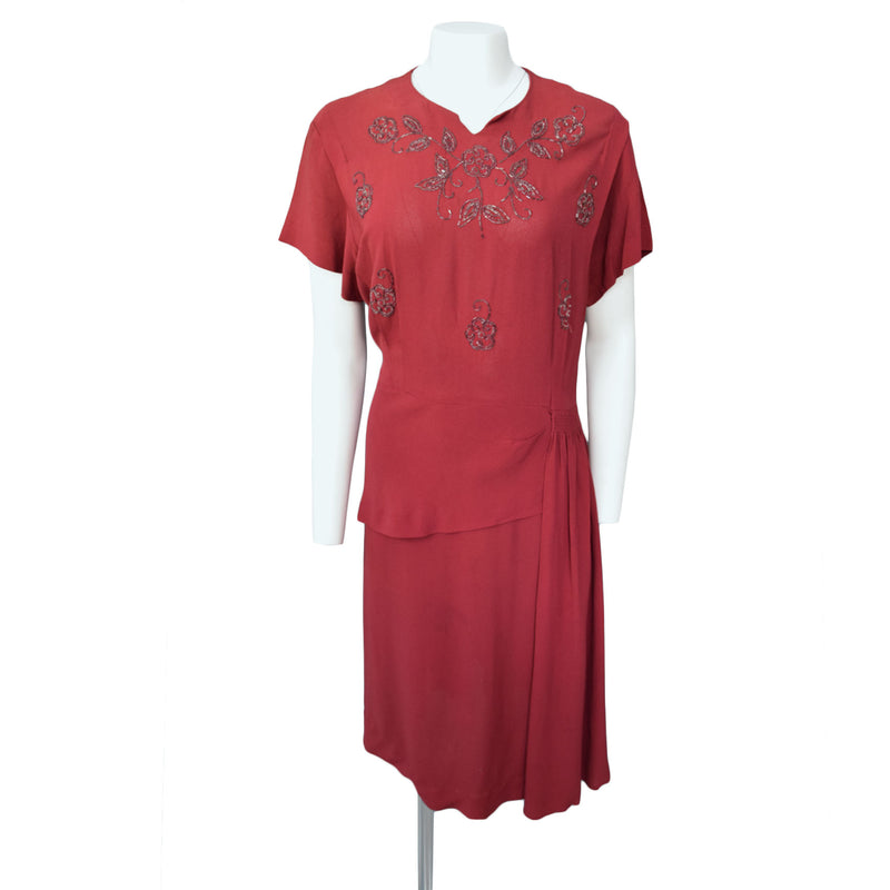 1940s Mulberry Beaded Dress Plus Size