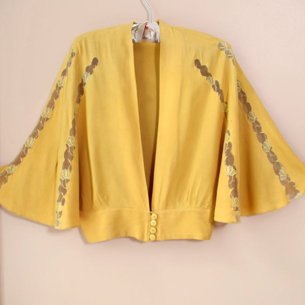 1930s Mustard  Crepe & Lace Jacket - Sweet Disorder Vintage