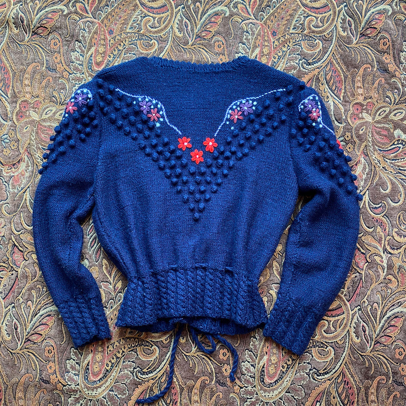1970s Hand Knit Tyrolean Cardigan
