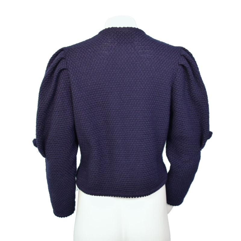 1980s Midnight Blue Mutton Sleeve Cardigan