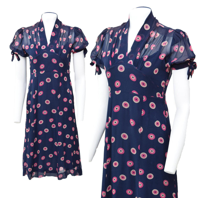 90s Does 40s Deco Polka Dot Dress - Sweet Disorder Vintage