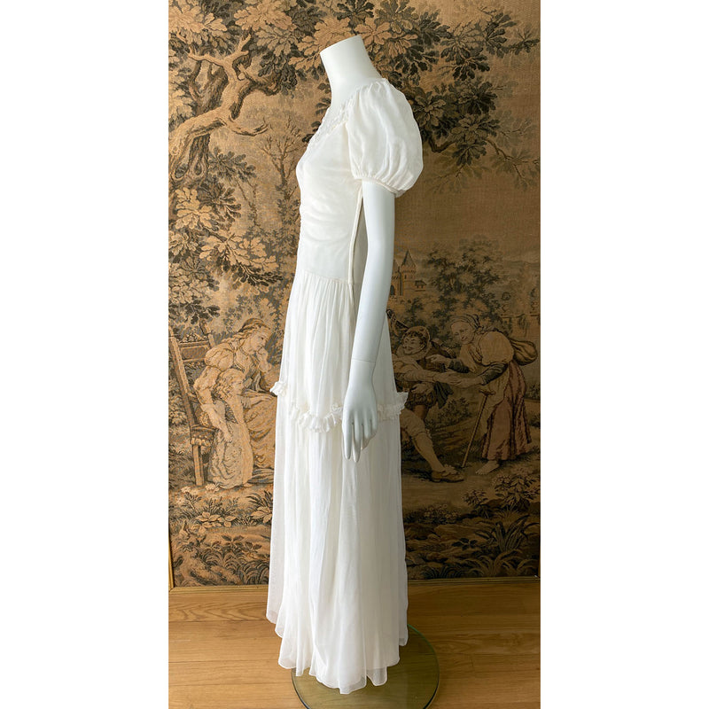 1940s White Net Gown
