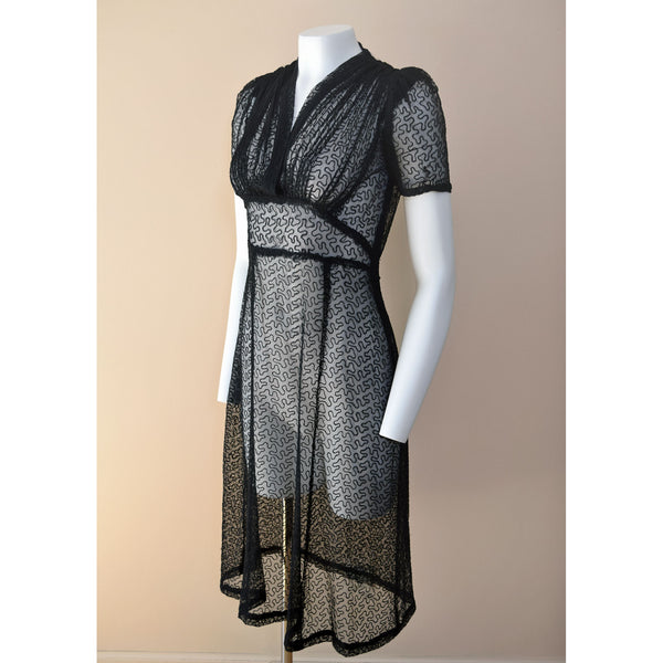 1940s Black Embroidered Net Dress - Sweet Disorder Vintage