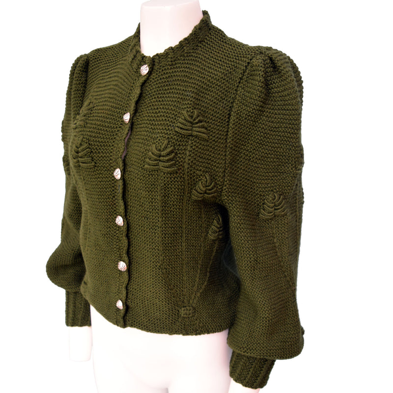 1970s Olive Green Hand-Knit Cardigan