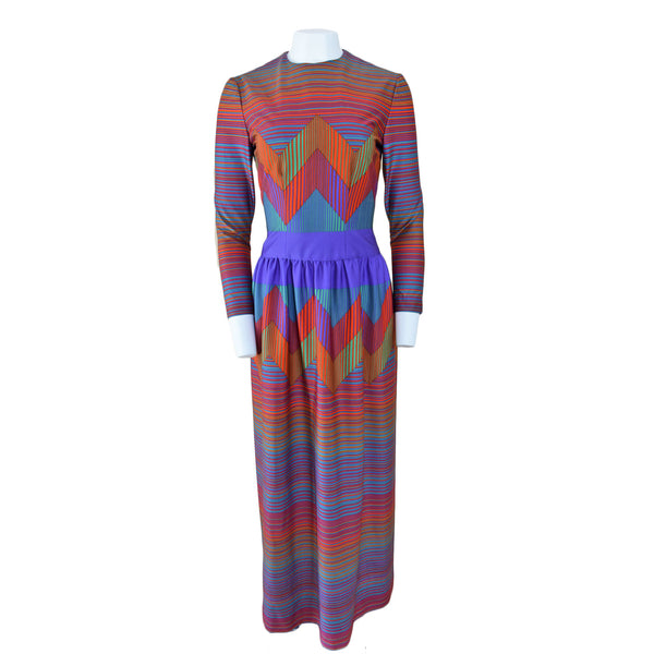 1970s Op Art Maxi Dress - Sweet Disorder Vintage