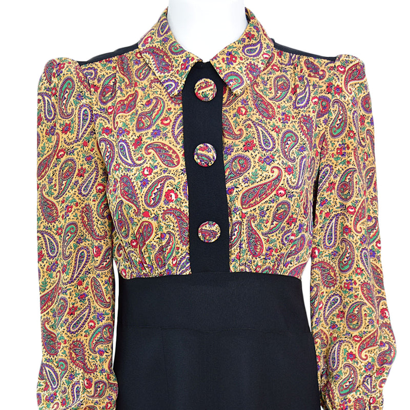1940s Paisley Crepe Day Dress