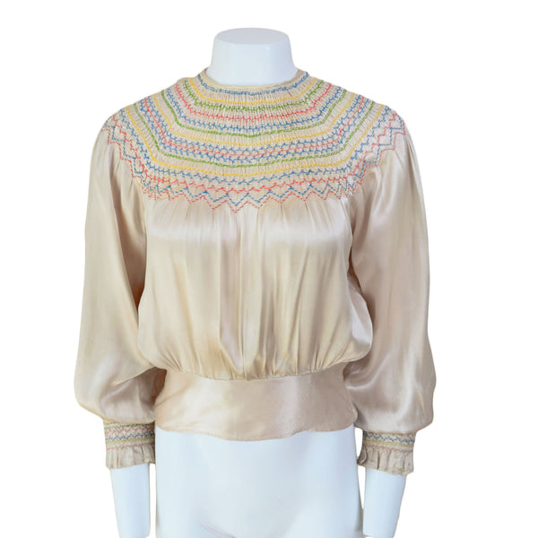 1930s Smocked Peasant Blouse - Sweet Disorder Vintage