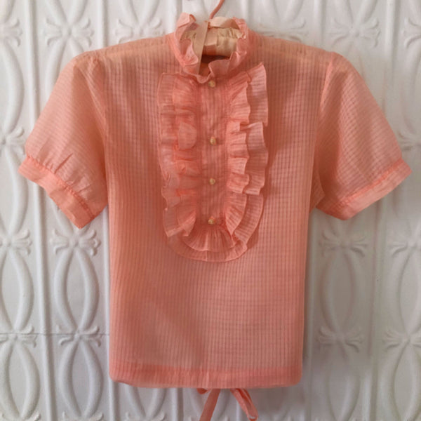 1940s Peach Ruffled Blouse - Sweet Disorder Vintage