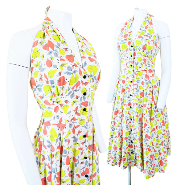 1950s Pear Print Sundress - Sweet Disorder Vintage