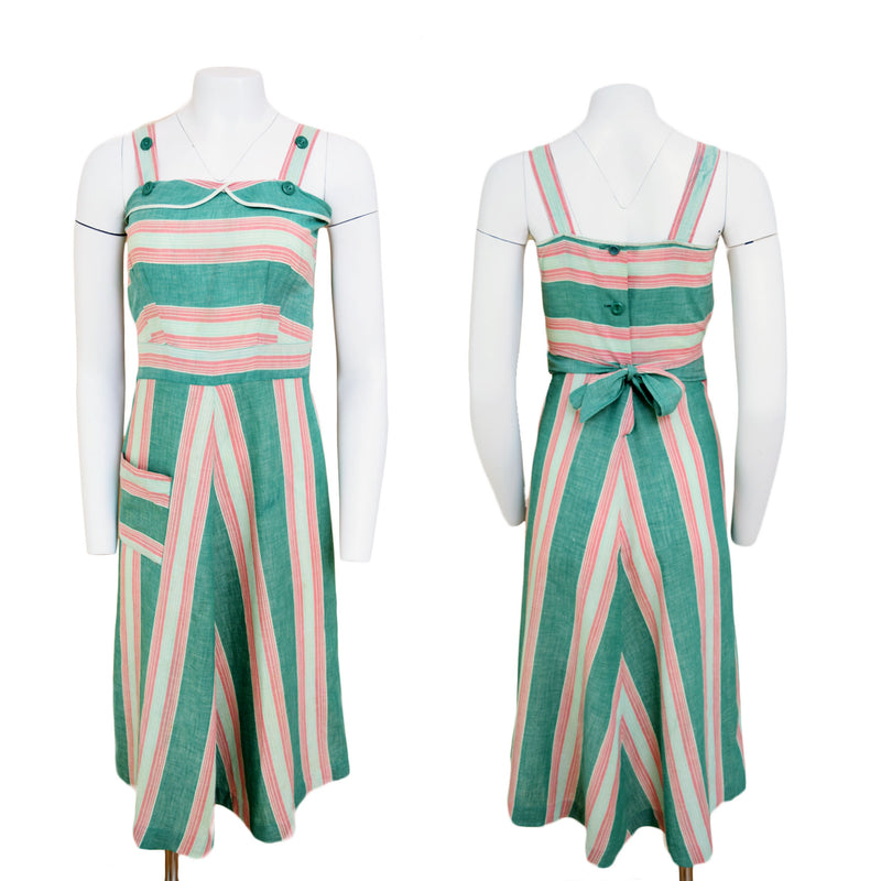 1940s Candy-Striped Capelet Dress - Sweet Disorder Vintage
