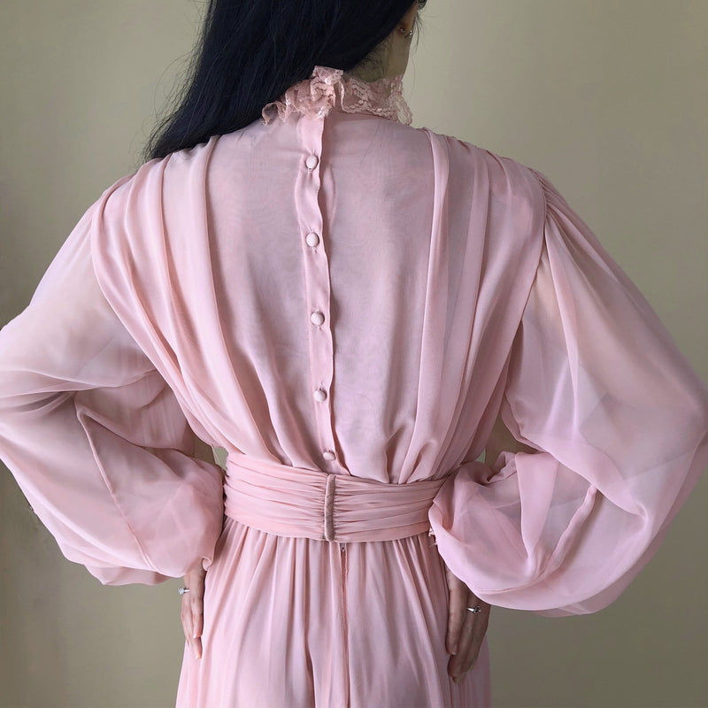 1970s Pink Balloon Sleeve Silk Dress - Sweet Disorder Vintage