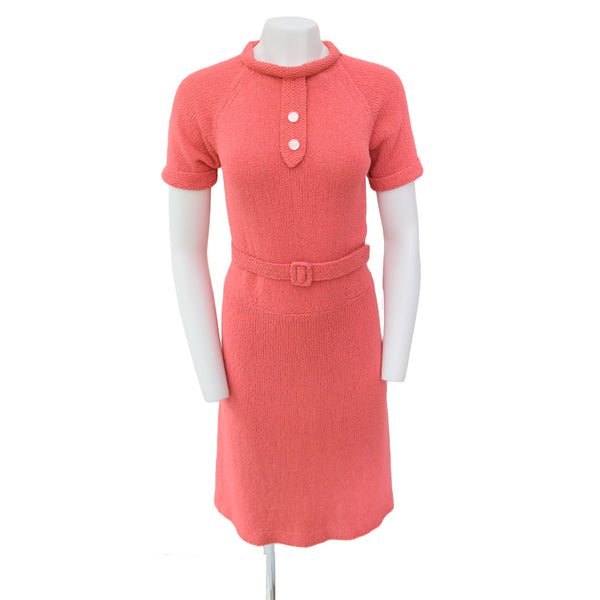 1950s Coral Pink Knit Dress