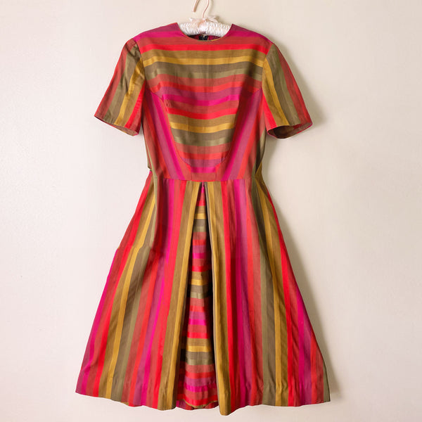 1960s Vibrant Striped Day Dress