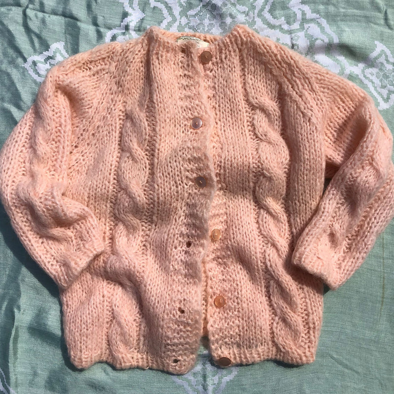 1960s Hand Knit Pink Cardigan - Sweet Disorder Vintage