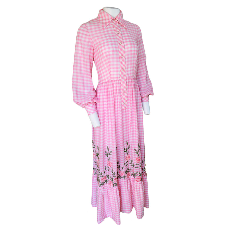 1970s Malcolm Starr Embroidered Gingham Maxi Dress - Sweet Disorder Vintage