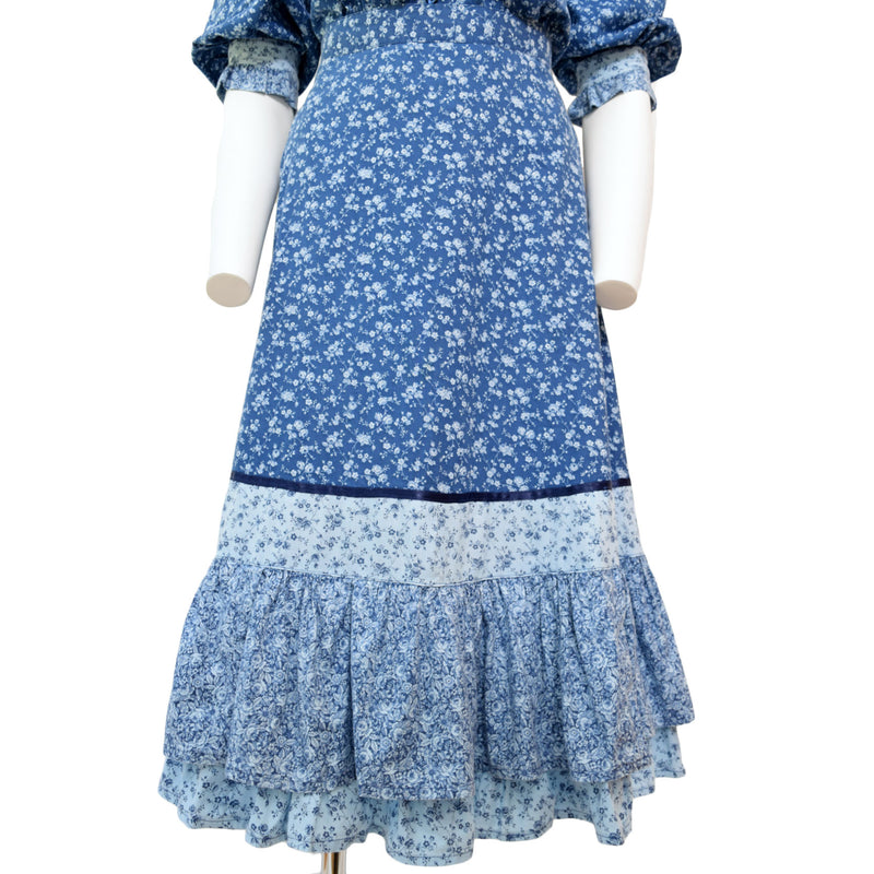 1970s Blue Prairie Dress Set Gunnne Sax