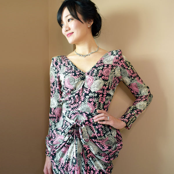 1940s Modernist Print Wiggle Dress - Sweet Disorder Vintage