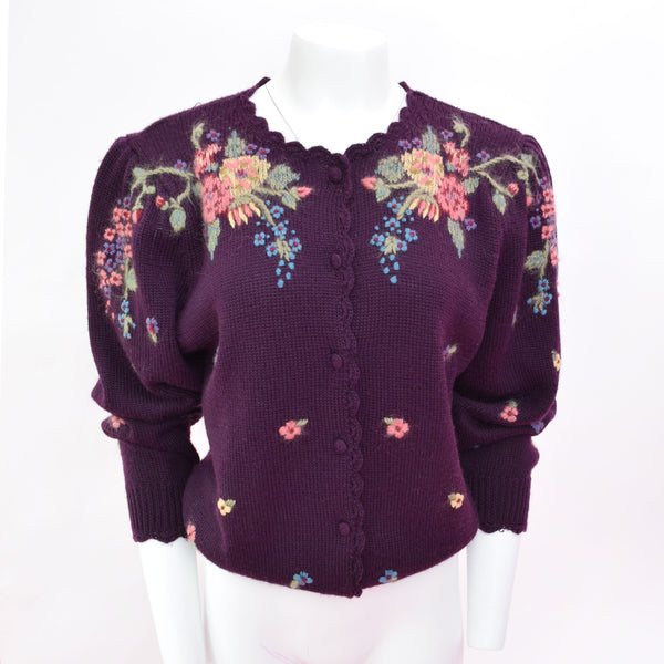 1980s Volup Purple Embroidered Cardigan