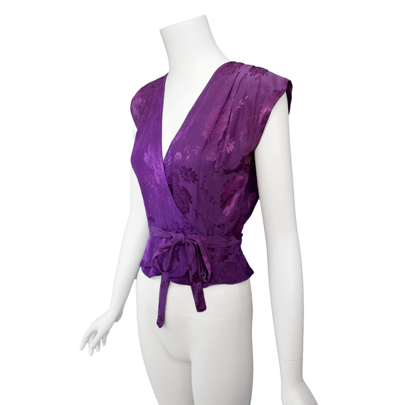 1970s Purple Jacquard Wrap Top By Radley