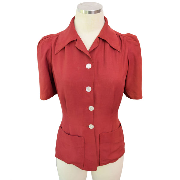 1940s Scarlet Red Sportswear Shirt