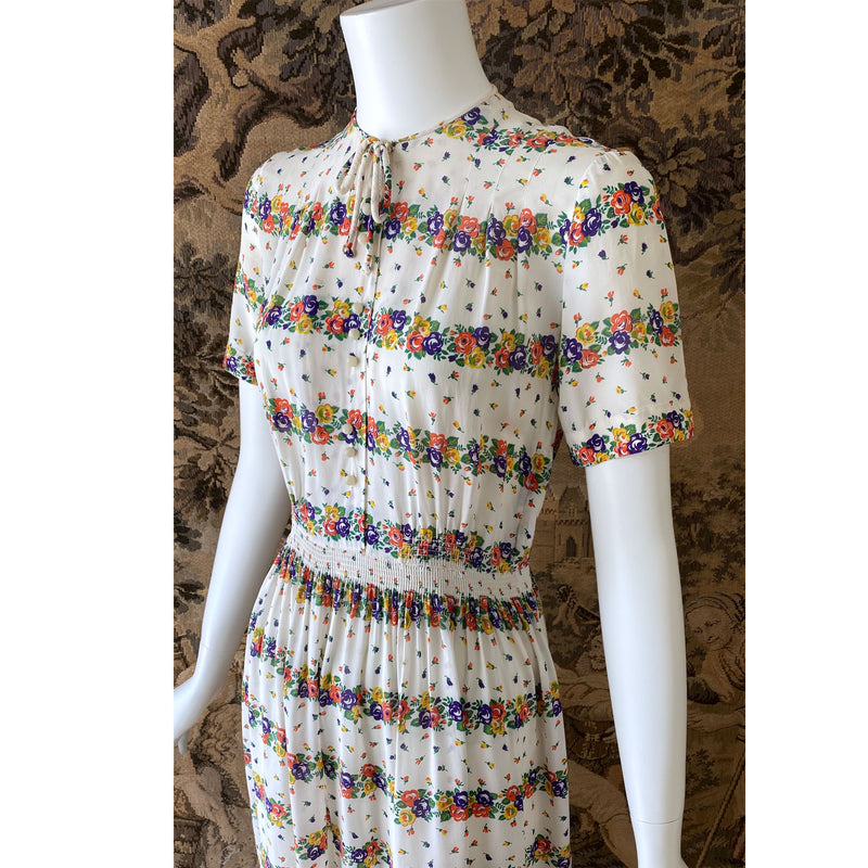 1940s Rainbow Floral Day Dress