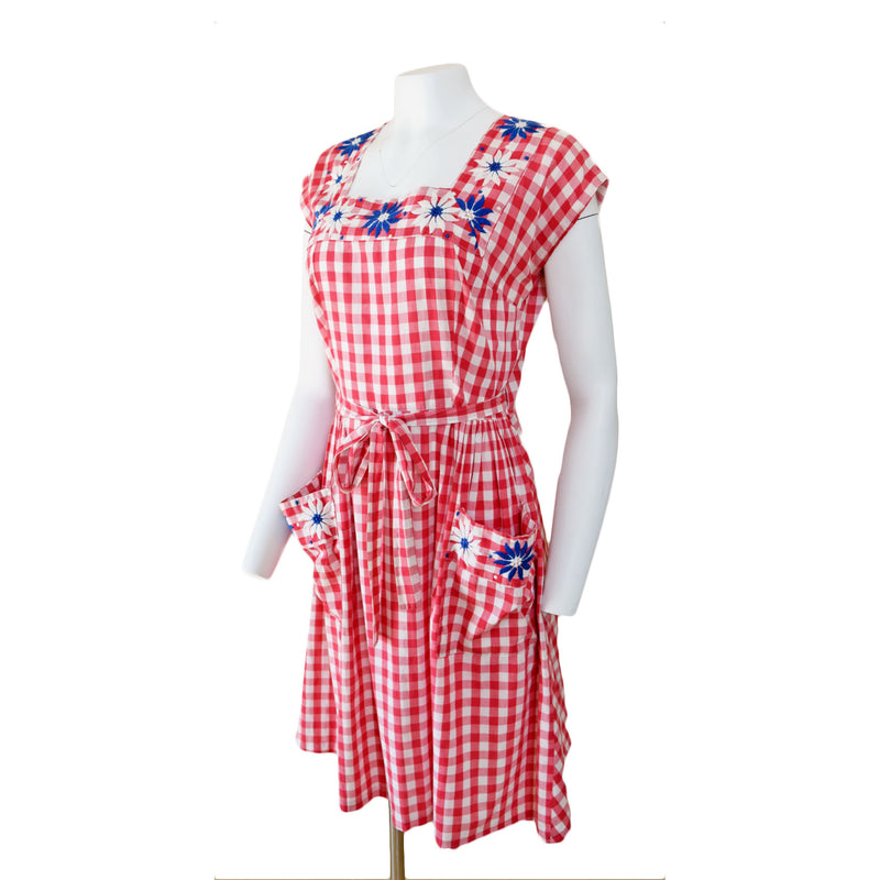 1940s Red Embroidered Gingham Dress - Sweet Disorder Vintage